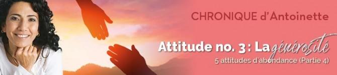 Attitude n°3: La générosité Cinq attitudes d'abondance (partie4)