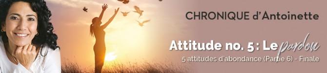 Attitude n°5: Le pardon Cinq attitudes d'abondance (partie6) Finale